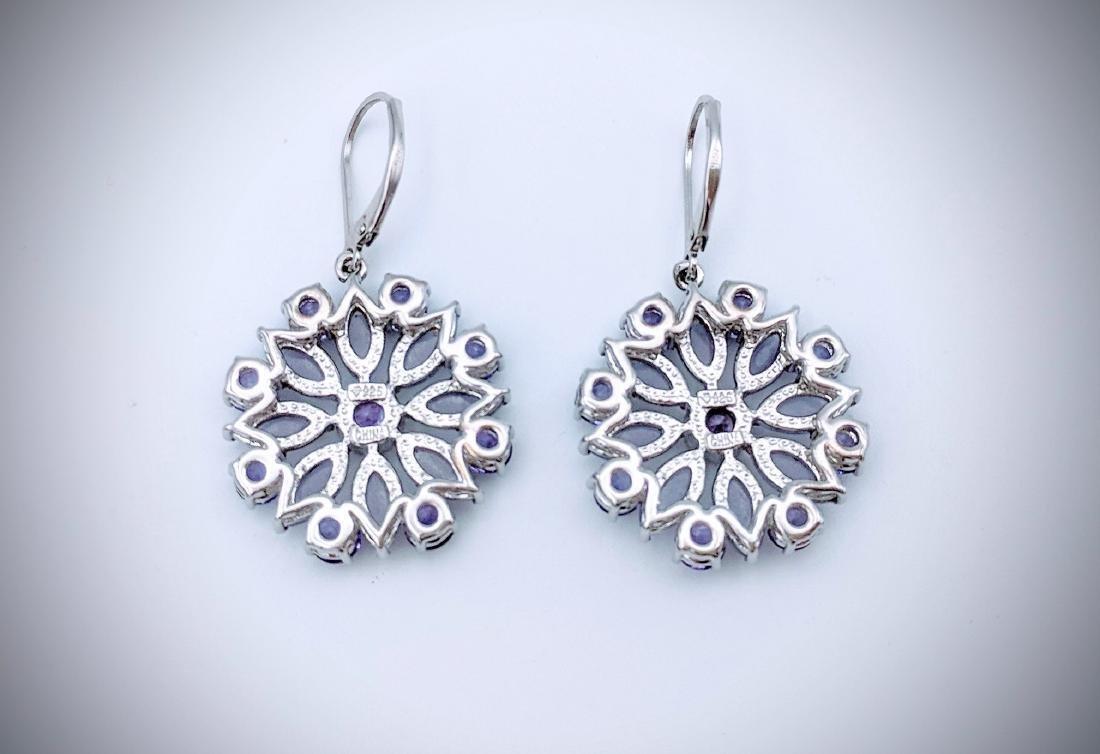 Sterling Silver Violet Jade, and Amethyst Earrings - 2