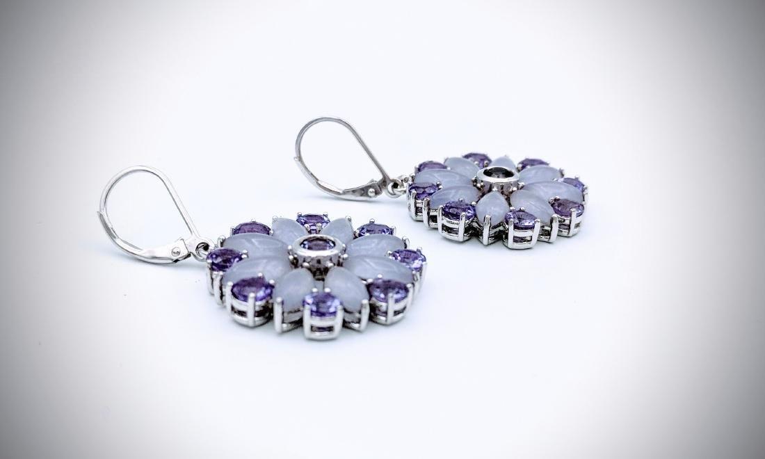 Sterling Silver Violet Jade, and Amethyst Earrings - 3