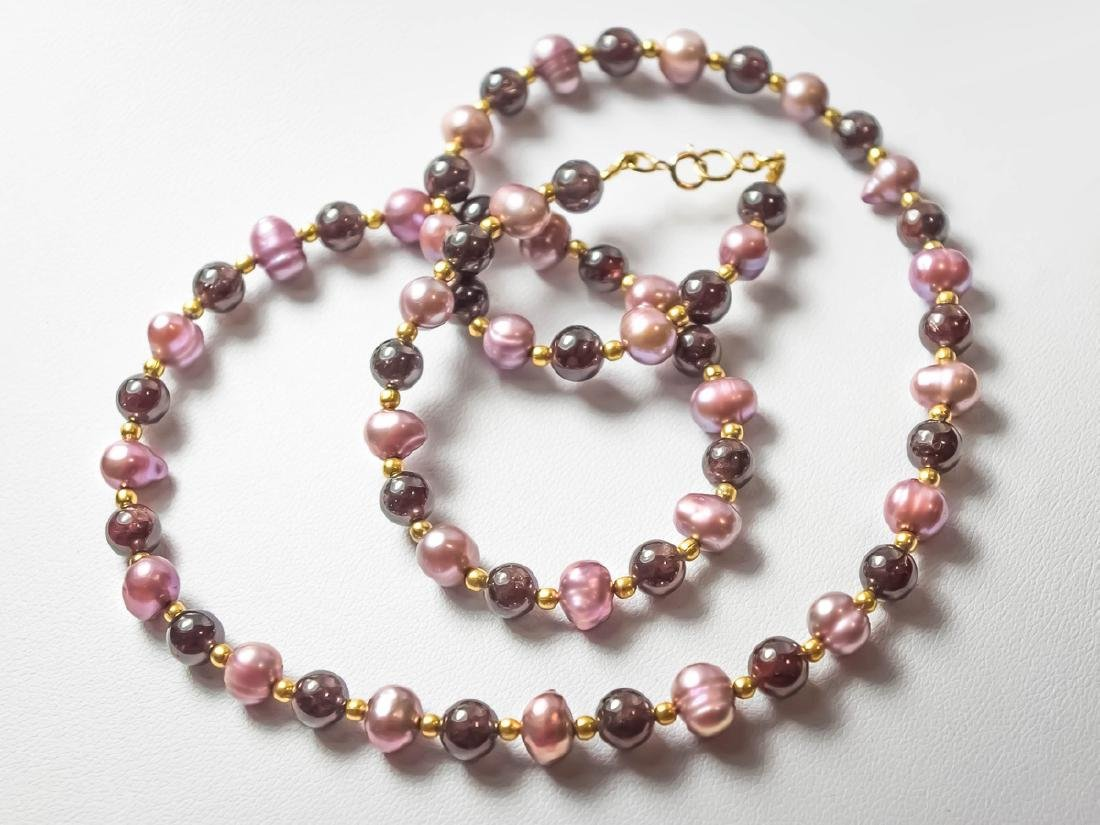 Lavender Pearl Necklace with Ruby garnets