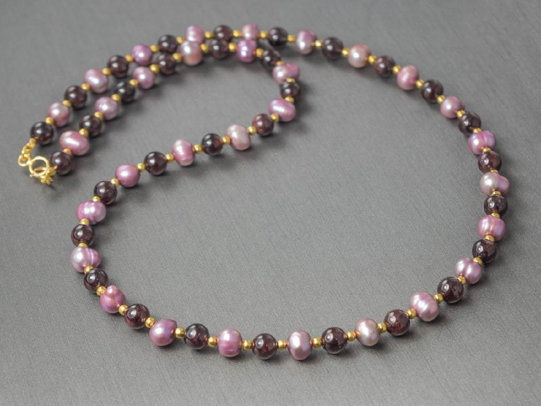 Lavender Pearl Necklace with Ruby garnets - 5