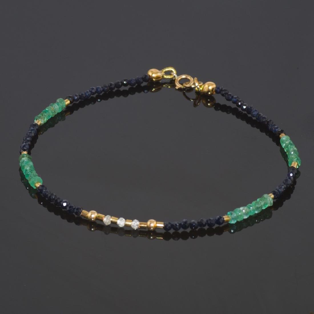 Sapphire and Emerald bracelet with Diamonds 0.2 carat
