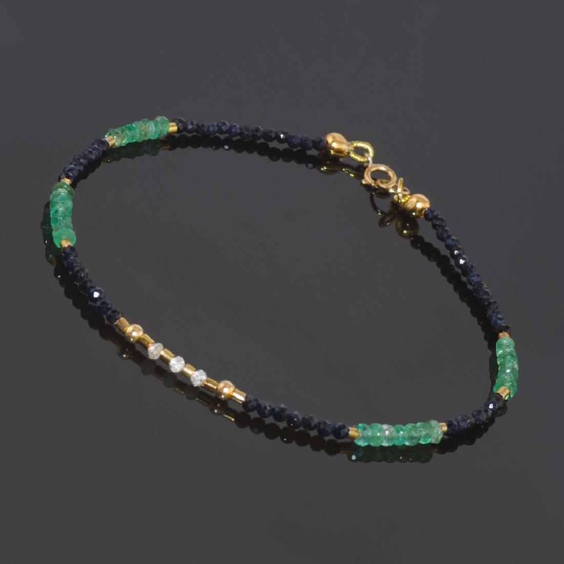 Sapphire and Emerald bracelet with Diamonds 0.2 carat - 2