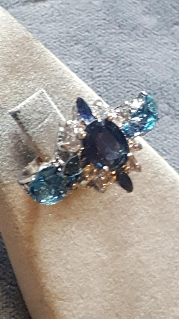 925 Topaz and Sapphire Ring