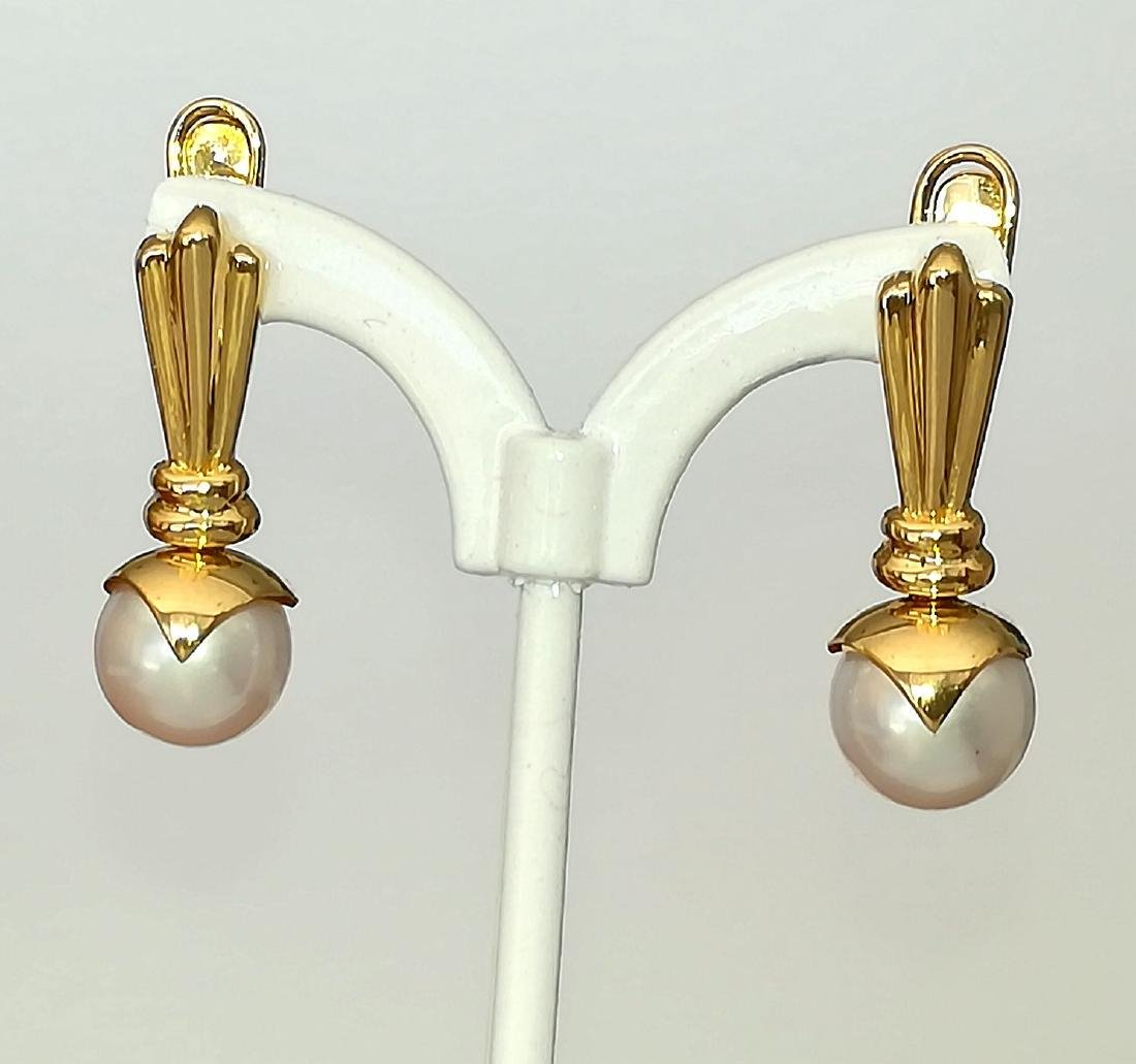 19.2 carats - Gold earrings with Pearl Akoya salt water