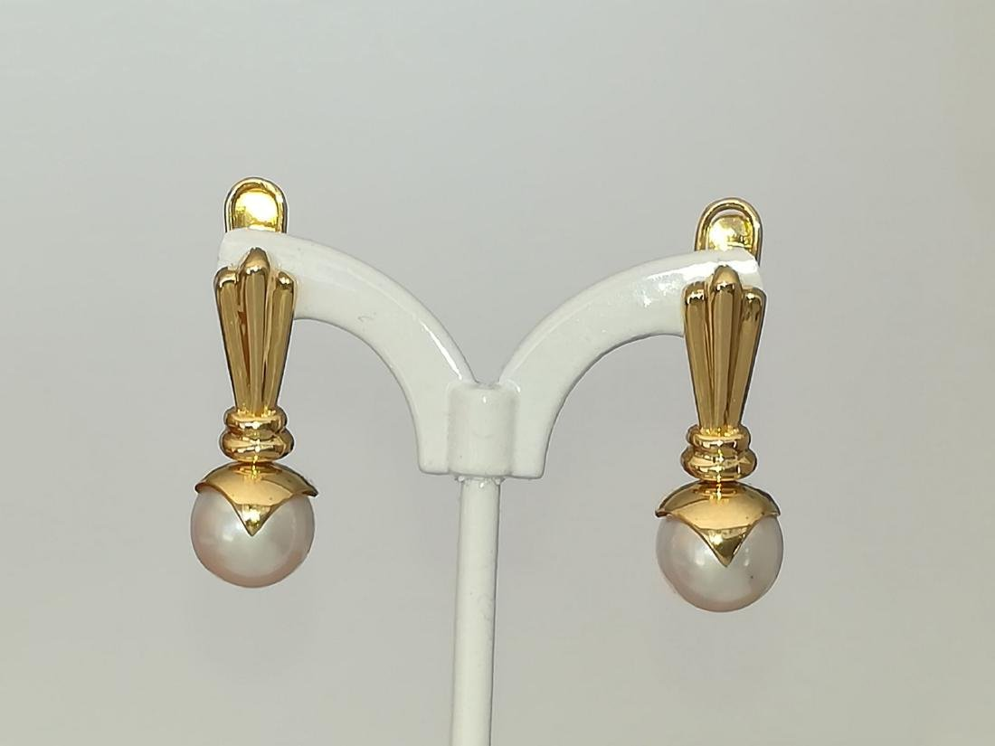 19.2 carats - Gold earrings with Pearl Akoya salt water - 3