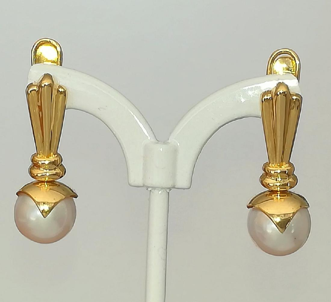 19.2 carats - Gold earrings with Pearl Akoya salt water - 4