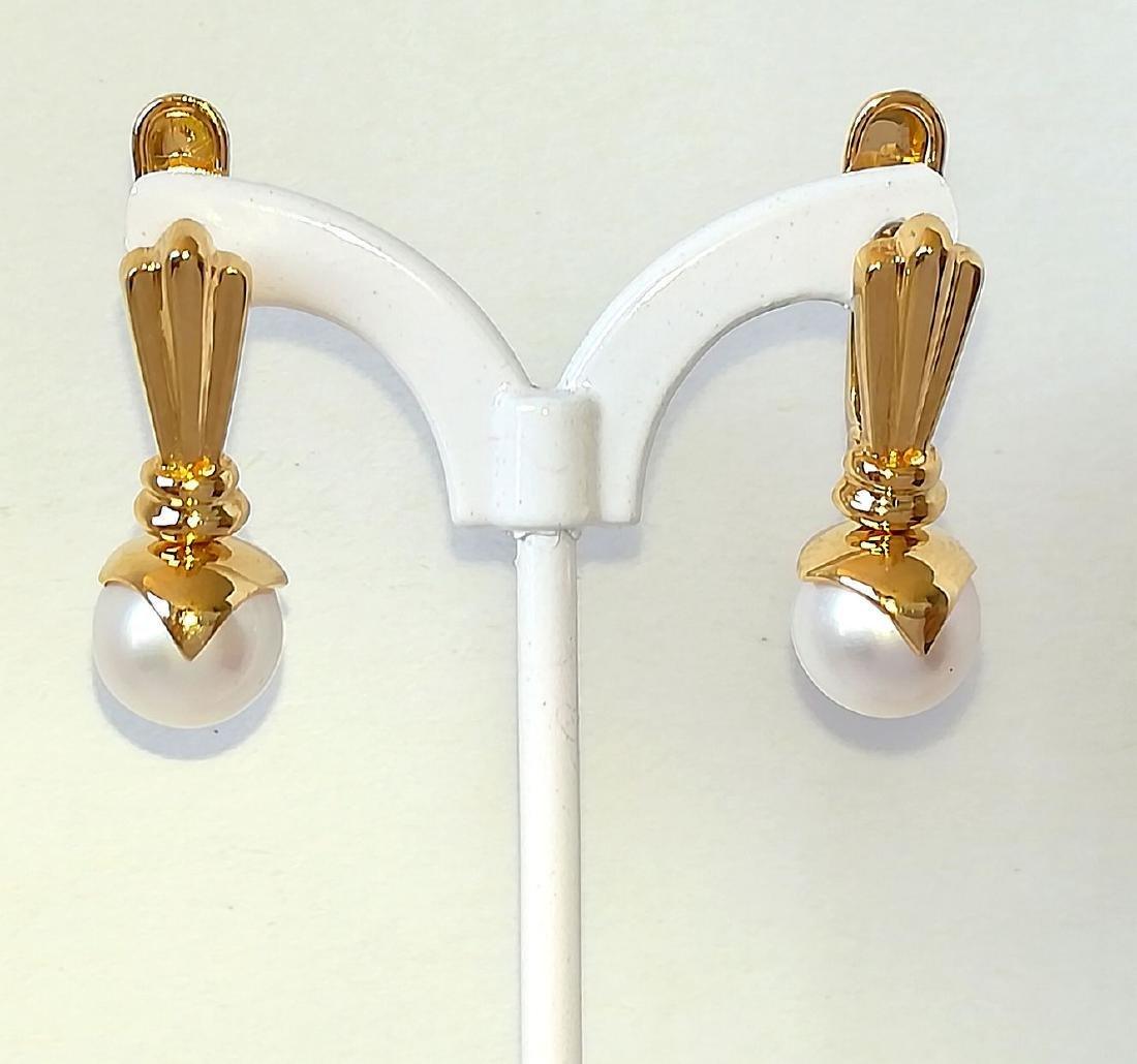 19.2 carats - Gold earrings with Pearl Akoya salt water - 5