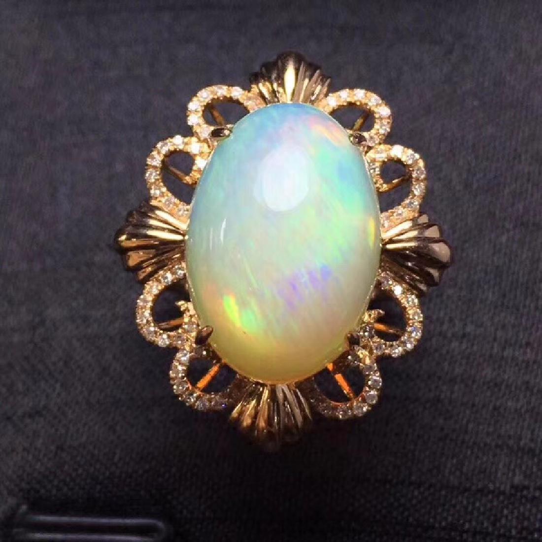 7.7 CTW Opal & VS Diamond Ring 18K