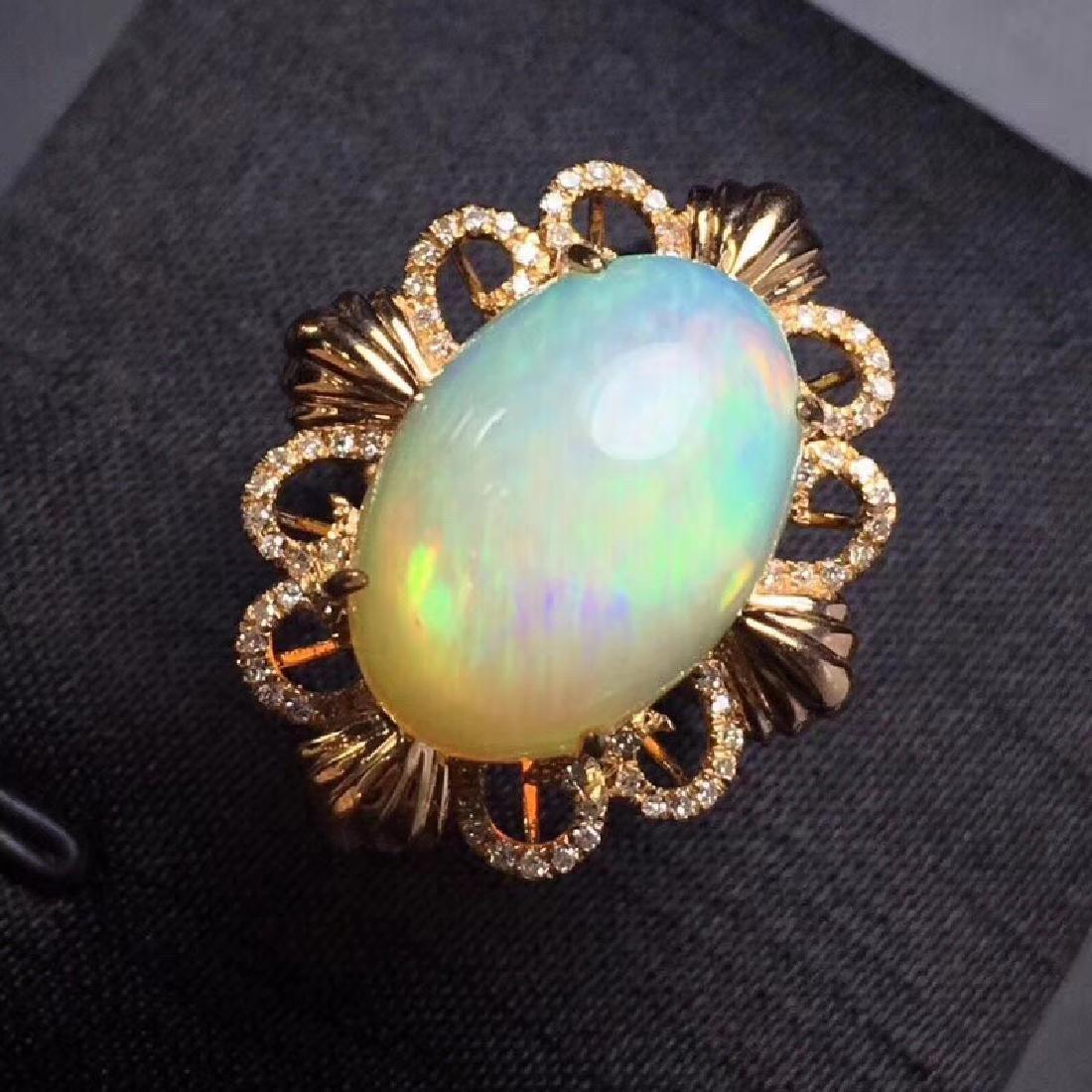 7.7 CTW Opal & VS Diamond Ring 18K - 2