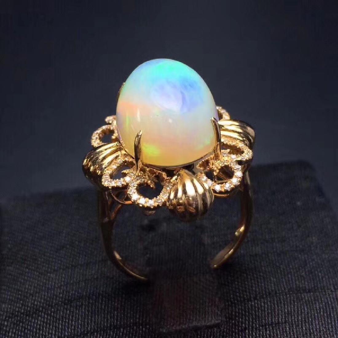 7.7 CTW Opal & VS Diamond Ring 18K - 5