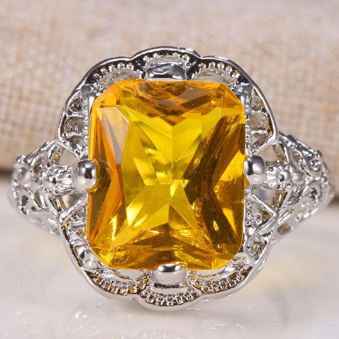 Yellow Topaz 1.9ct 925 Silver Ring Size 6