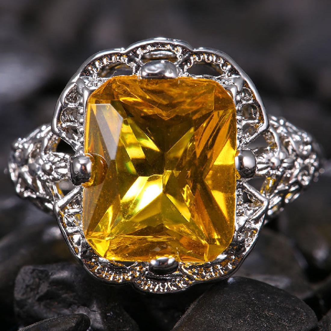 Yellow Topaz 1.9ct 925 Silver Ring Size 6 - 2