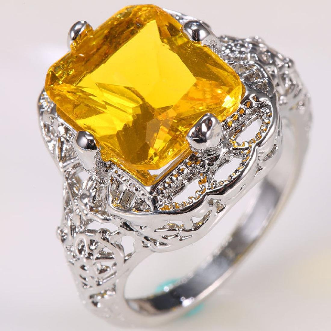 Yellow Topaz 1.9ct 925 Silver Ring Size 6 - 3