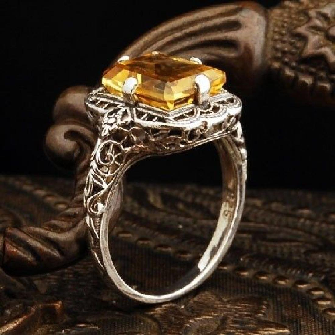 Yellow Topaz 1.9ct 925 Silver Ring Size 6 - 4