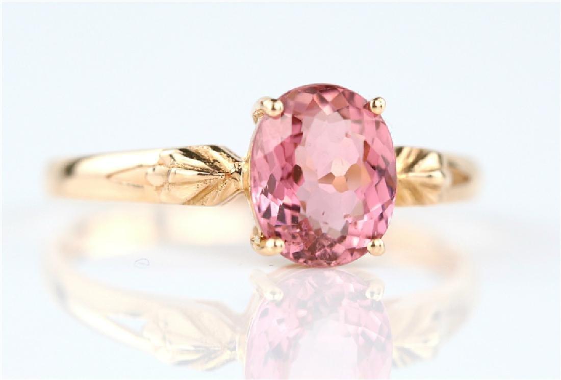 Certified-18K rose gold Pink Tourmaline ring - 2