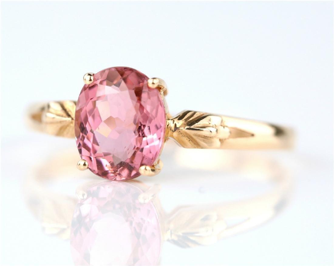 Certified-18K rose gold Pink Tourmaline ring - 3