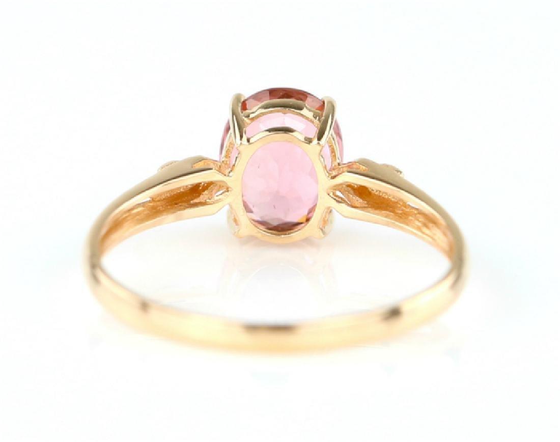 Certified-18K rose gold Pink Tourmaline ring - 4