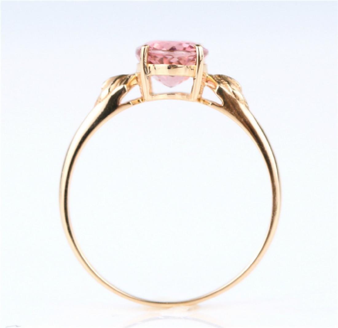 Certified-18K rose gold Pink Tourmaline ring - 5