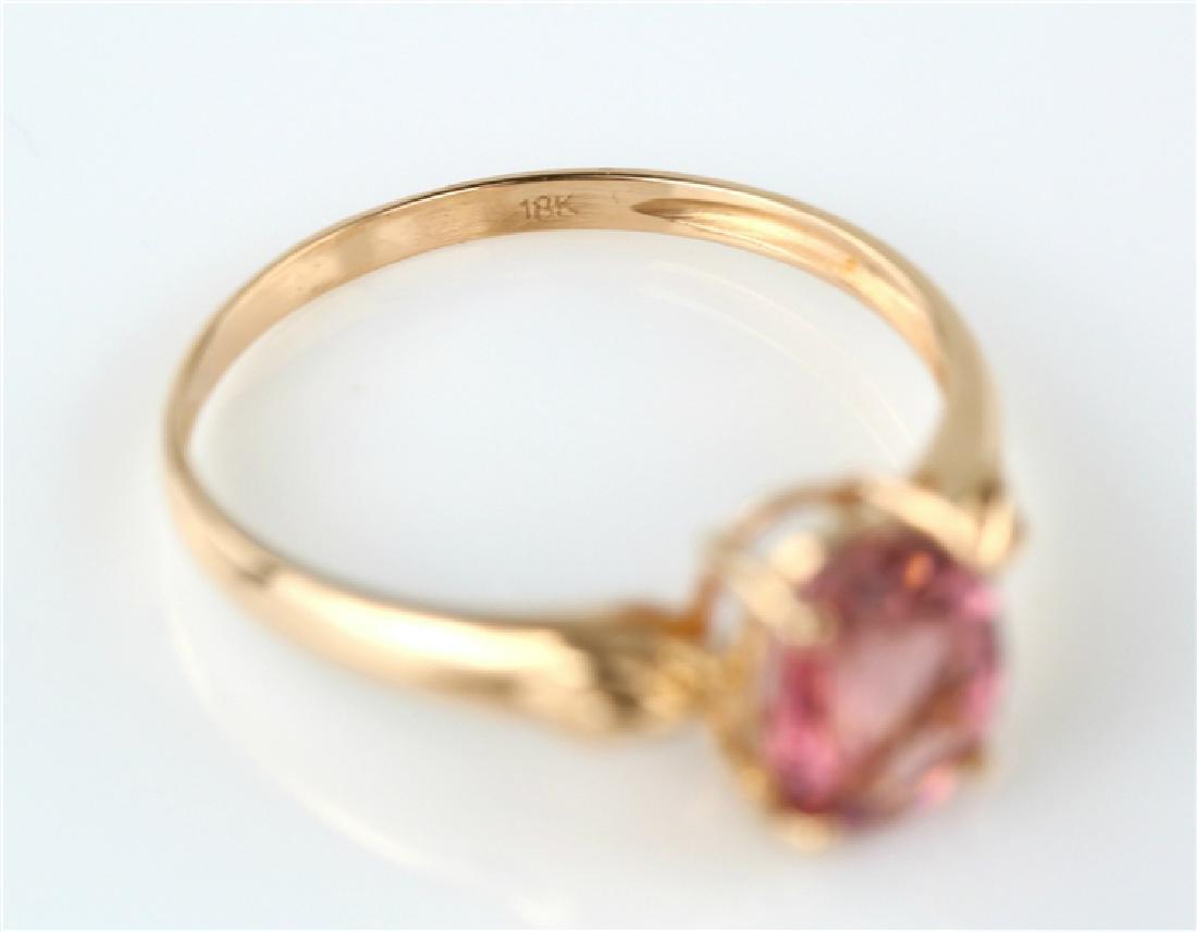 Certified-18K rose gold Pink Tourmaline ring - 6