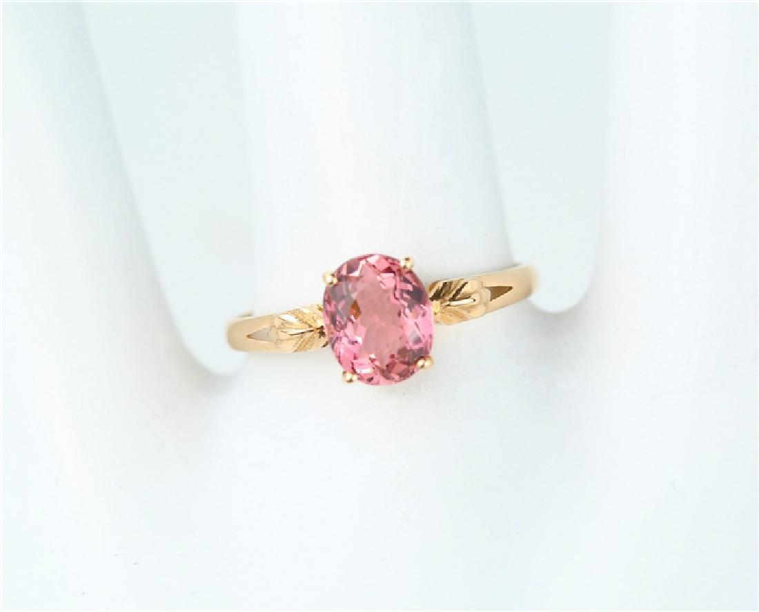 Certified-18K rose gold Pink Tourmaline ring - 7