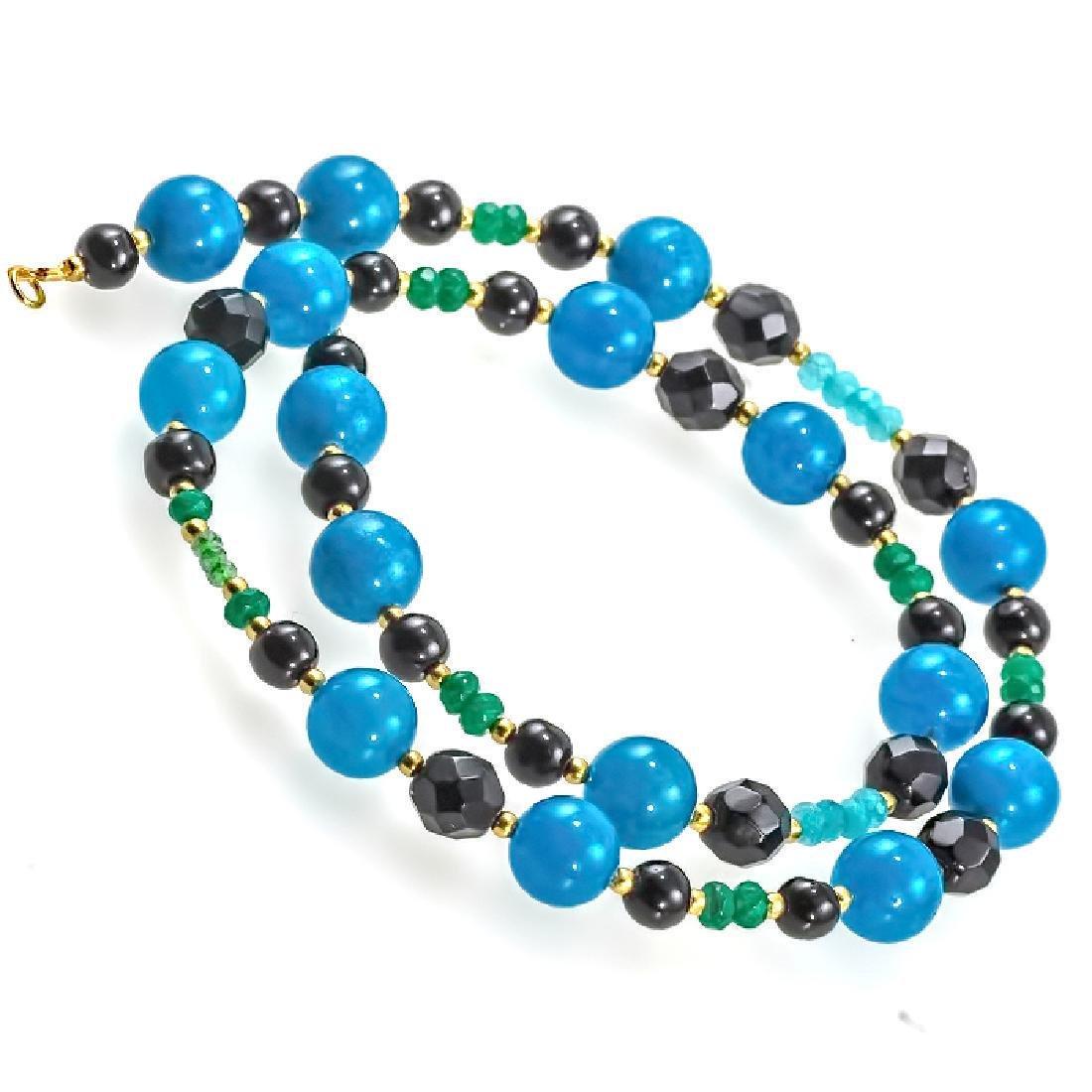 Jade Necklace with Emeralds, Aquamarine, Black and
