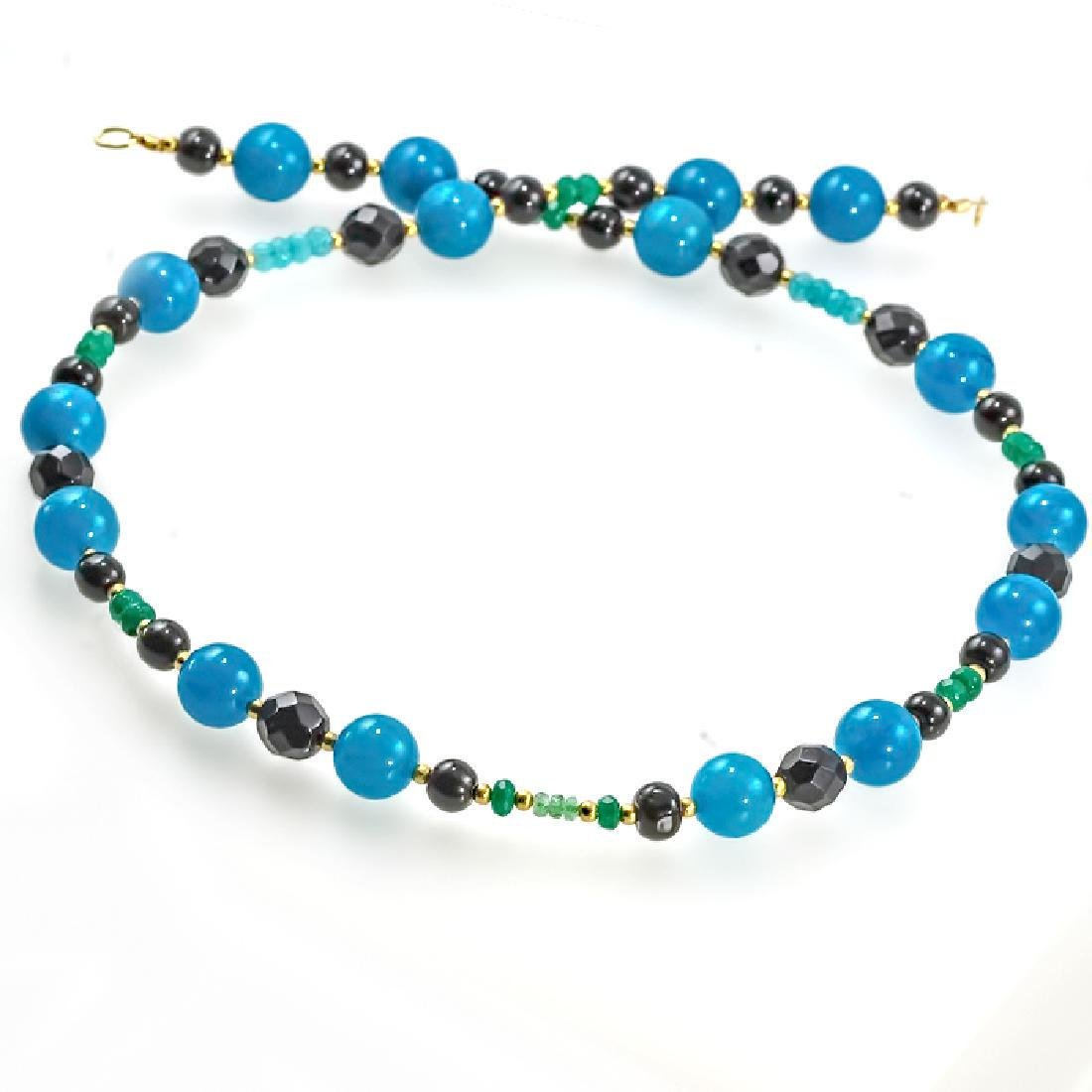 Jade Necklace with Emeralds, Aquamarine, Black and - 2