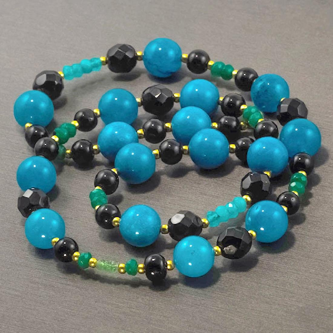 Jade Necklace with Emeralds, Aquamarine, Black and - 3