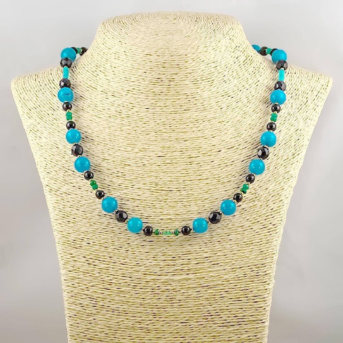Jade Necklace with Emeralds, Aquamarine, Black and - 4