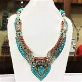 Nepali & Mexican Turquoise Bold Ethnic Necklace