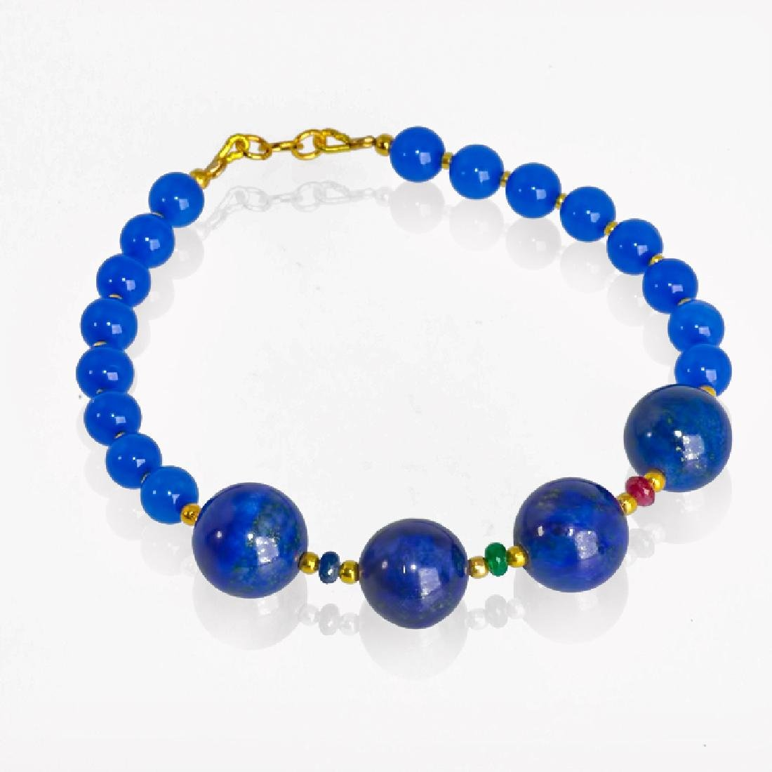 Blue Bracelet with Sapphire, Emerald and Ruby