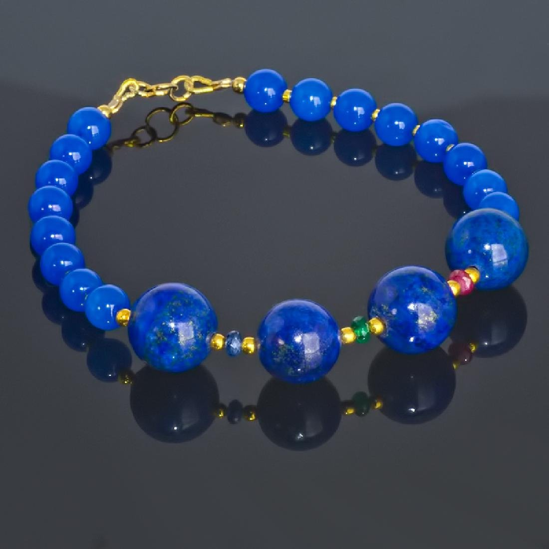 Blue Bracelet with Sapphire, Emerald and Ruby - 3