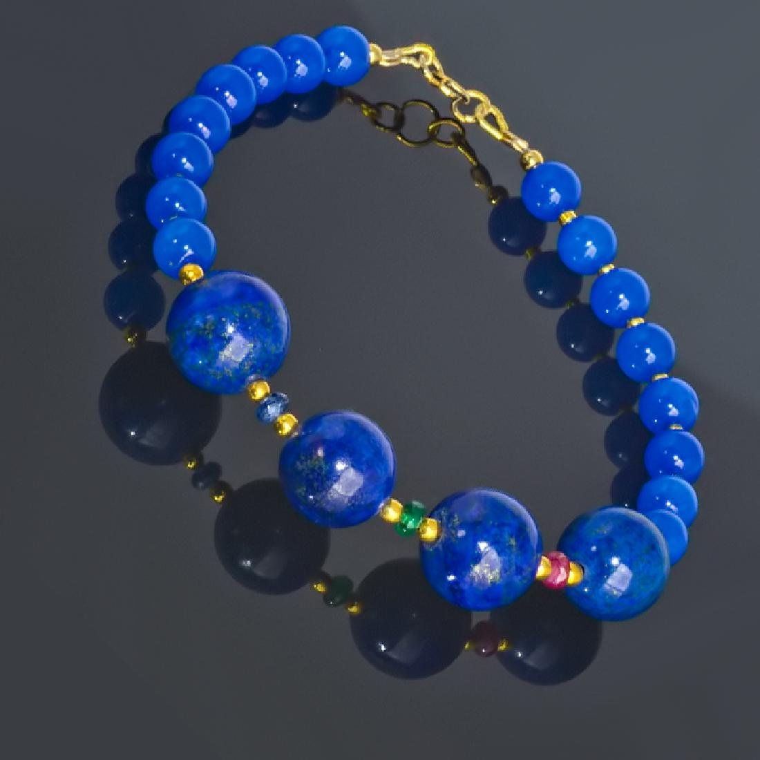 Blue Bracelet with Sapphire, Emerald and Ruby - 4