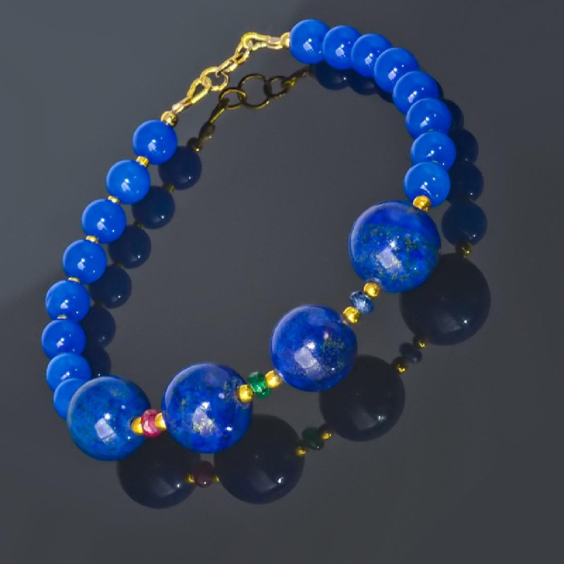 Blue Bracelet with Sapphire, Emerald and Ruby - 5