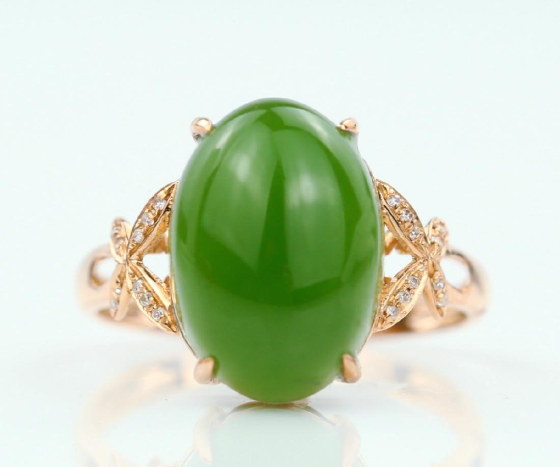 Certified-18k rose gold ring with Jade