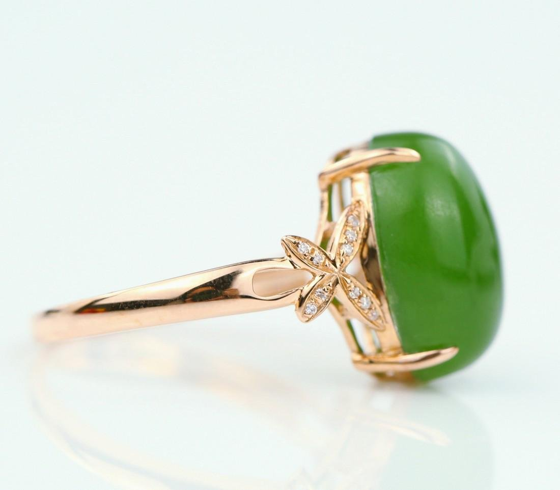Certified-18k rose gold ring with Jade - 4