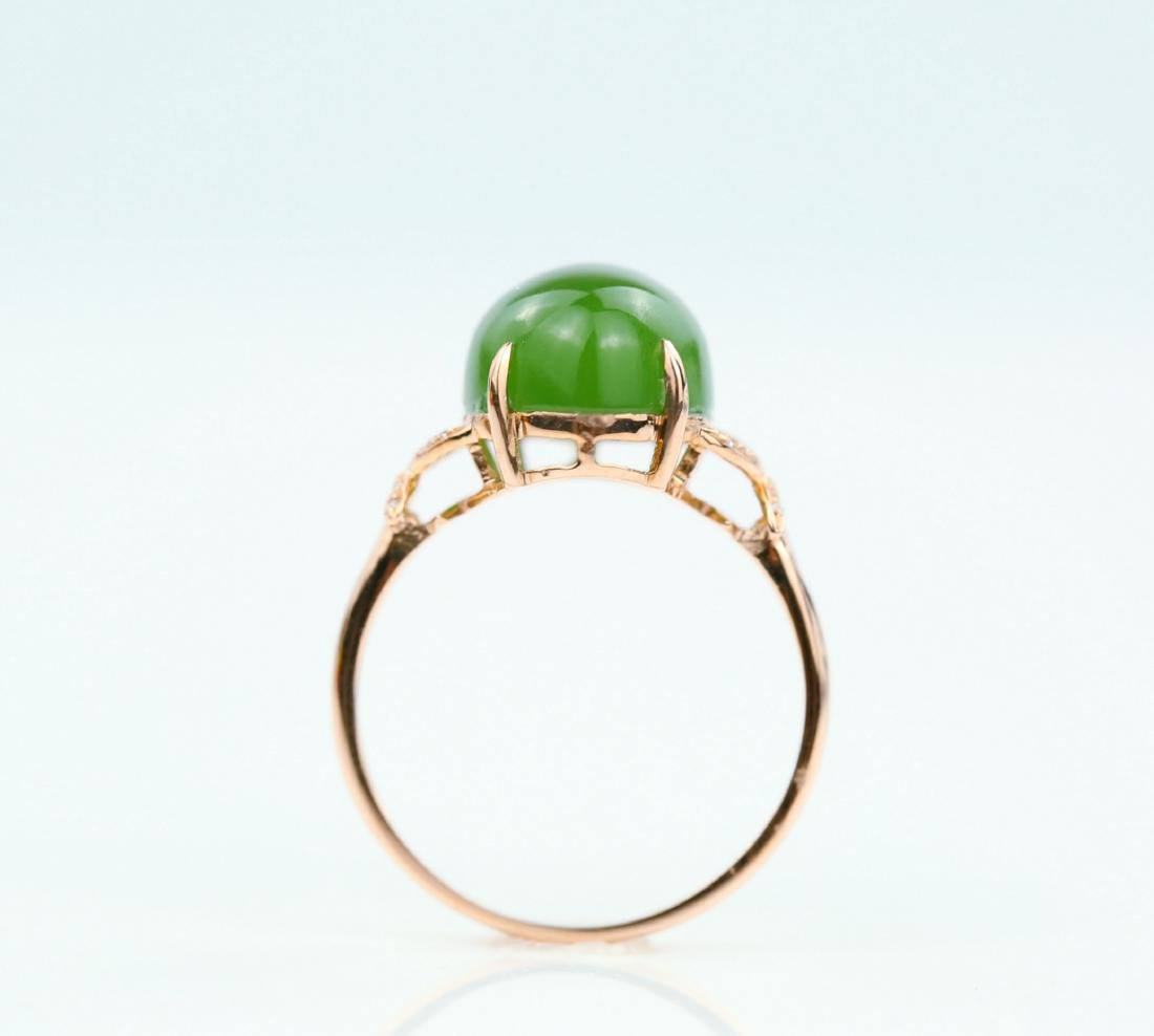 Certified-18k rose gold ring with Jade - 6