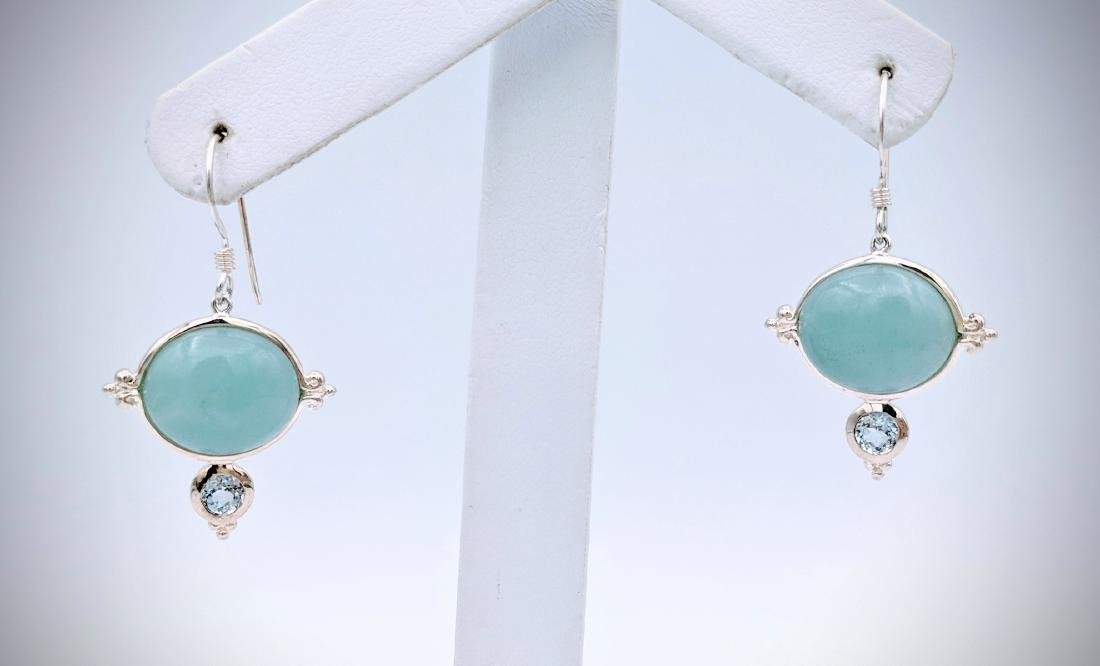 Sterling Silver Turquoise and Blue Topaz Earrings