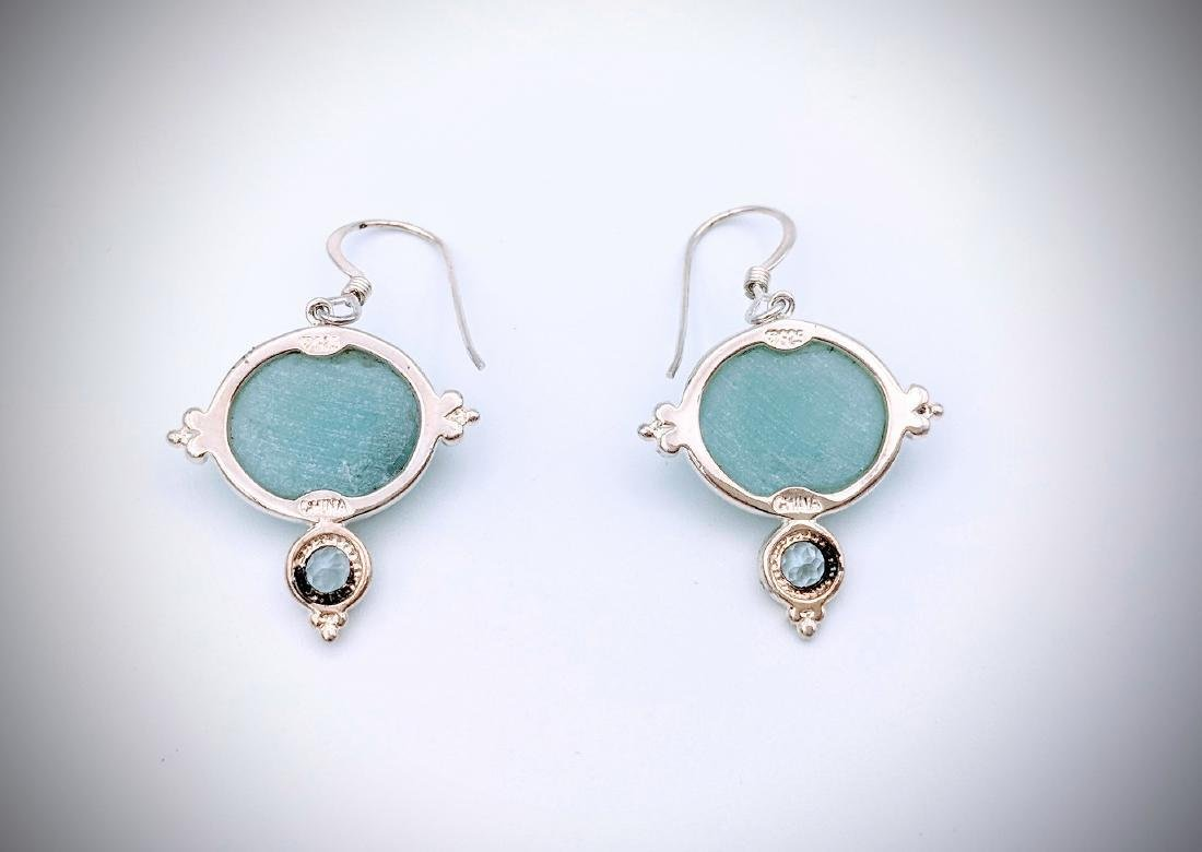 Sterling Silver Turquoise and Blue Topaz Earrings - 2