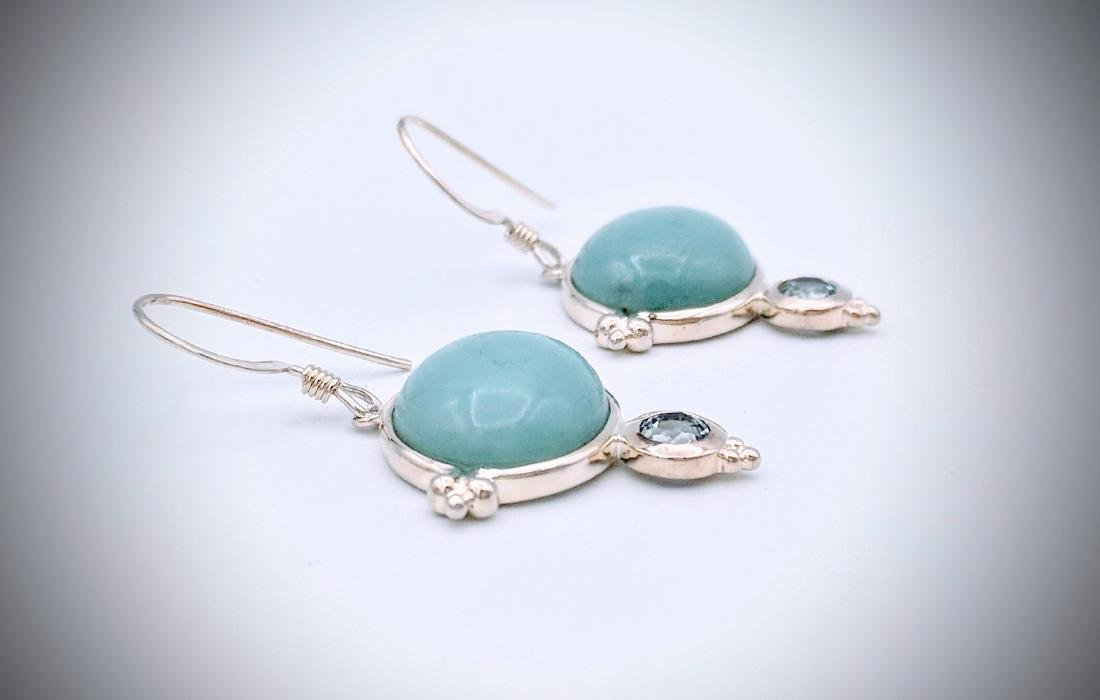Sterling Silver Turquoise and Blue Topaz Earrings - 3