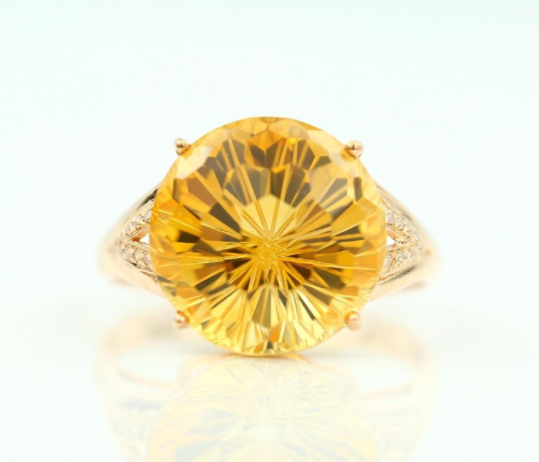 Certified-Beautiful Citrine 18k rose gold ring