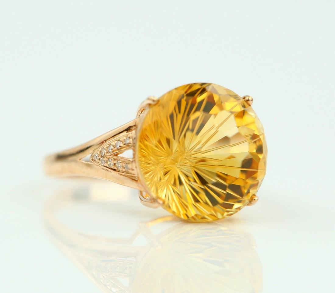 Certified-Beautiful Citrine 18k rose gold ring - 2