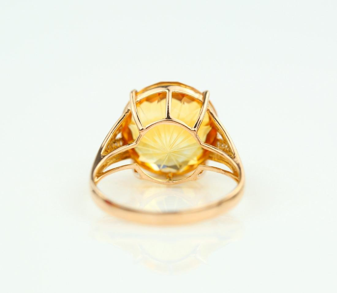 Certified-Beautiful Citrine 18k rose gold ring - 5