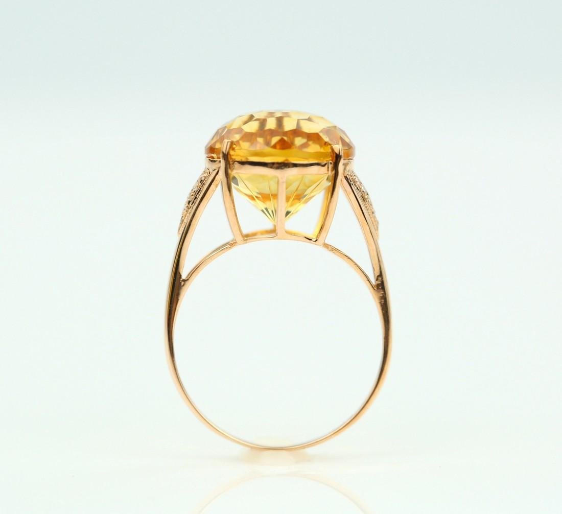 Certified-Beautiful Citrine 18k rose gold ring - 6