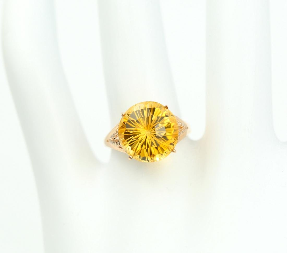 Certified-Beautiful Citrine 18k rose gold ring - 7
