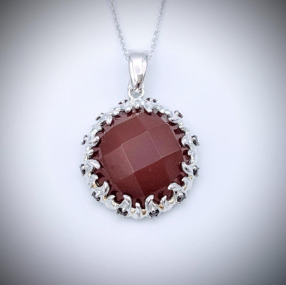 Sterling Silver Necklace and Pendant with Carnelian,
