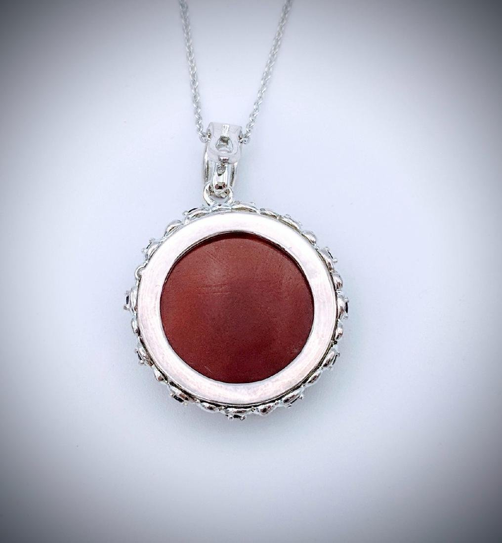 Sterling Silver Necklace and Pendant with Carnelian, - 2