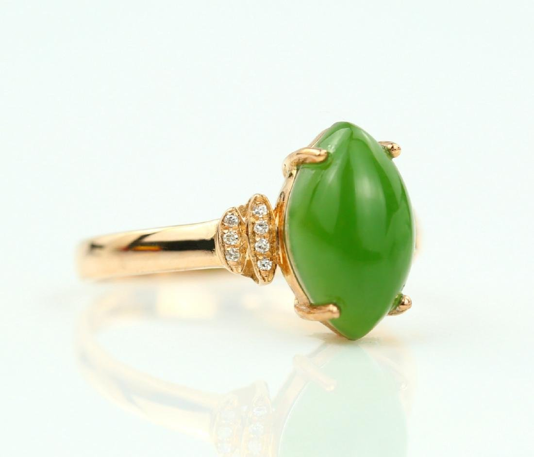 Certified-18k rose gold ring with Jade - 2