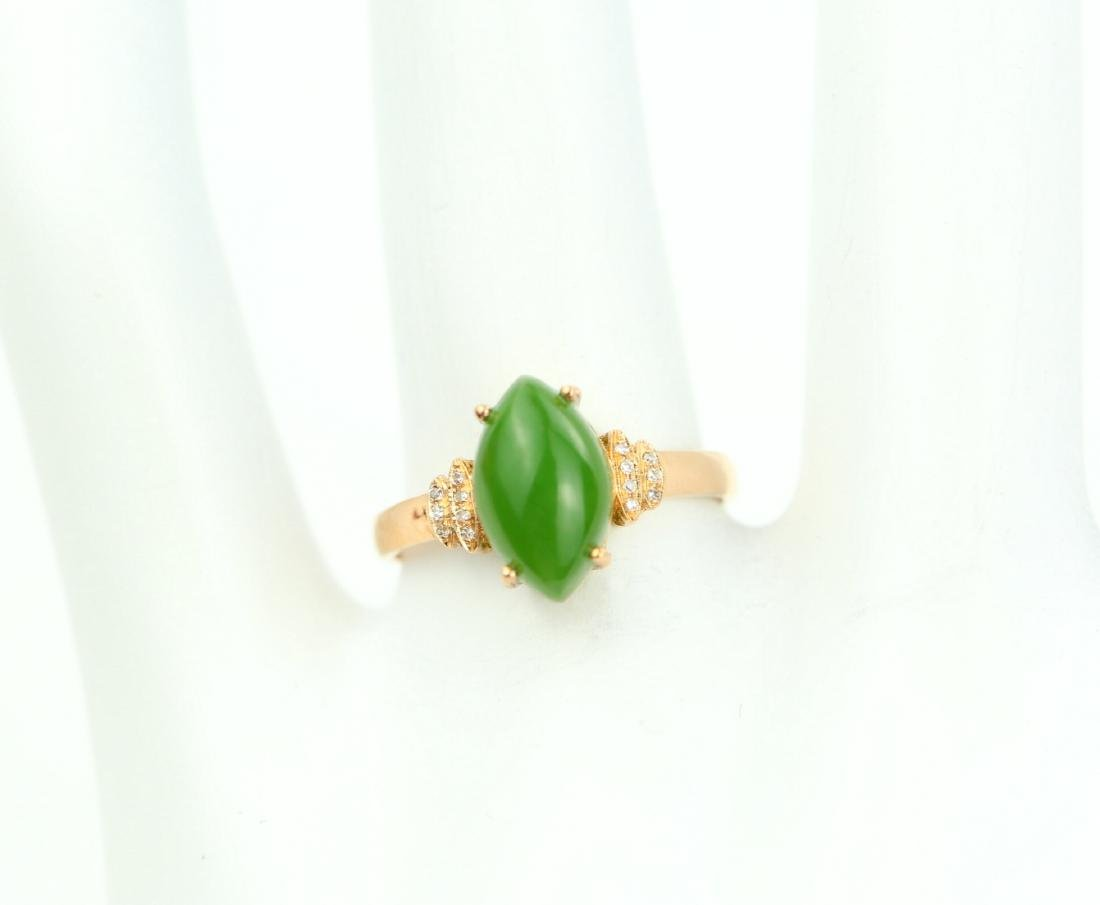 Certified-18k rose gold ring with Jade - 7