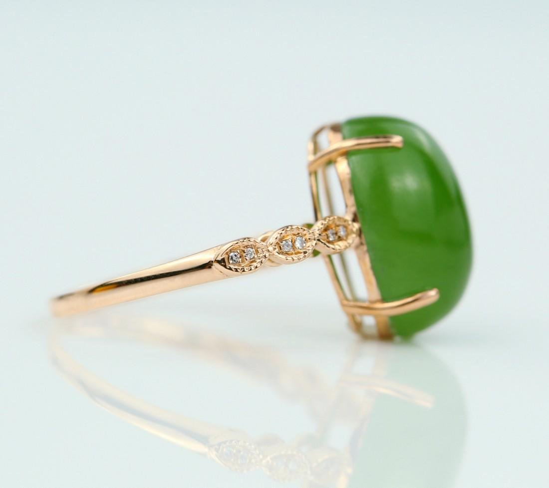 Certified-18k rose gold ring with Jade - 3