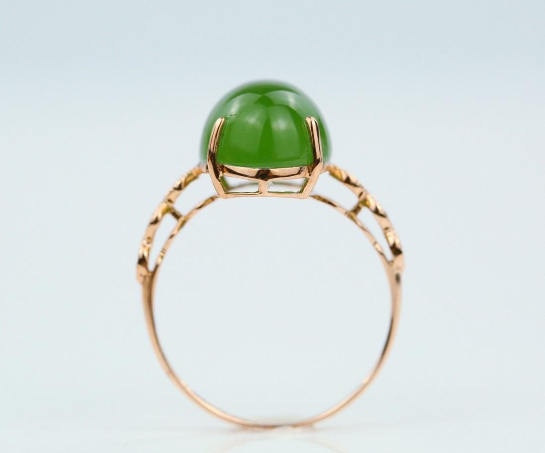Certified-18k rose gold ring with Jade - 5